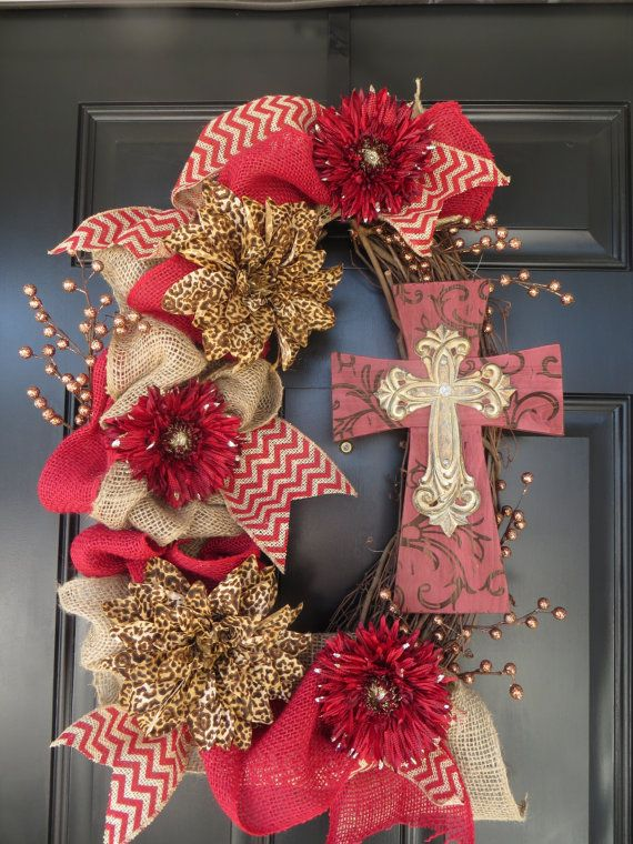 Burlap Wreath with Cross