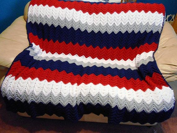 New England Patriots Team Colors Afghan Hand by kamsstorecom, $79.00