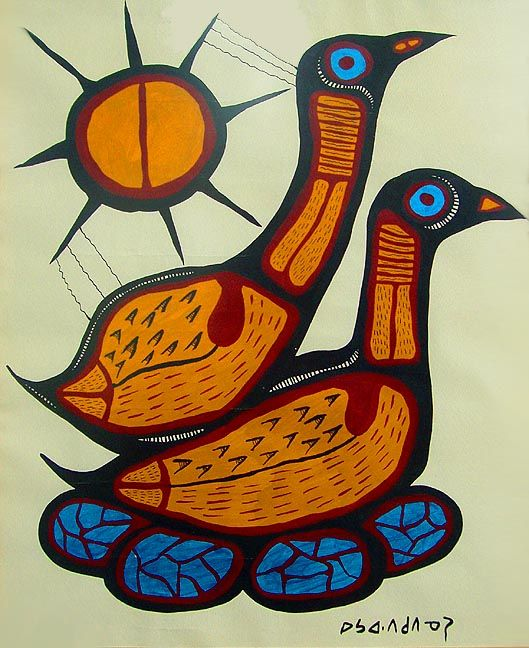 Loons Nesting, Norval Morrisseau (Woodland School, Canadian)