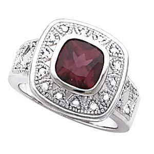 71190 / 10K White / RING / Polished / LADIES COLOR STONE RING