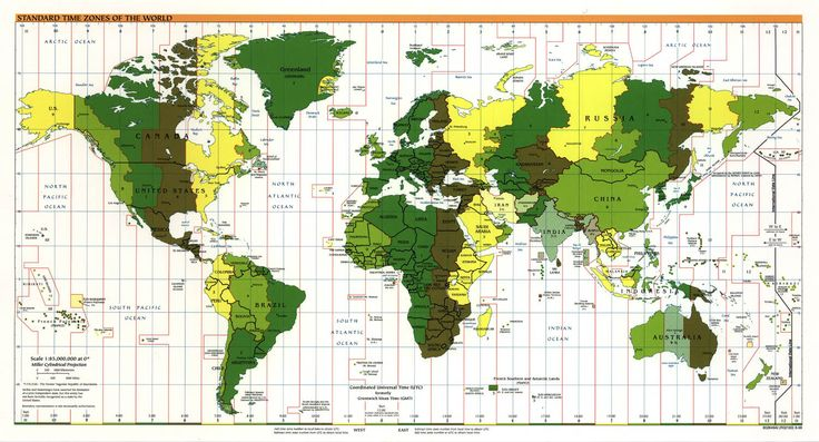 A #map showing how the world's geography is divided up into standard time zones.