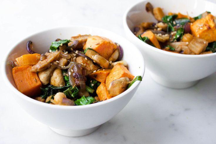 wokschotel met zoete aardappel