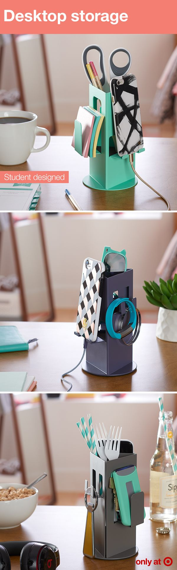 Created by students for students, this desktop organizer from Loft by Umbra will help you stay organized and clutter-free. This little gem not only holds utensils, school supplies, personal items and more in their place, it includes charging holes and cord space for your smart phone. It comes in a variety of colors — turquoise, charcoal, indigo and orange.