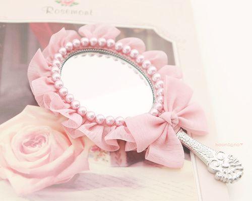 Strawberry Shortcake--Ruffles, Pearls, & Bow on Hand Mirror