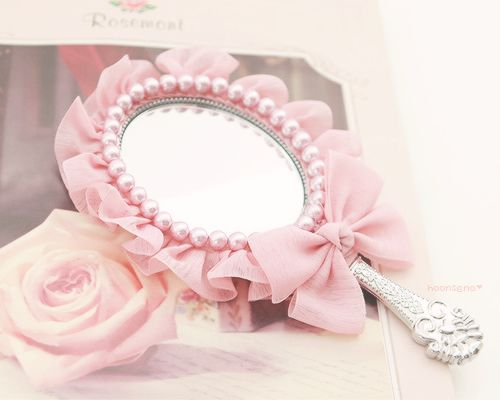 Strawberry Shortcake--Ruffles, Pearls, & Bow on Hand Mirror
