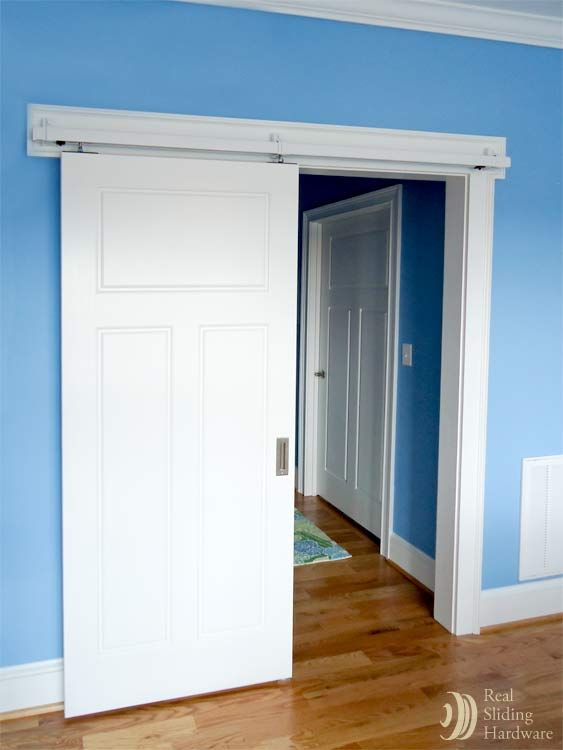 Box rail hardware painted white to match the door & 23 best Sliding Doors images on Pinterest | Sliding doors Sliding ...