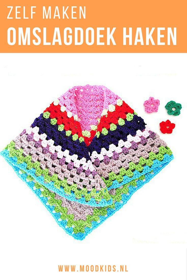 Haak deze leuke kleurige omslagdoek voor je dochter. En maak er ook een voor jezelf. Lees de beschrijving op de blog of volg de online haakles voor beginners.