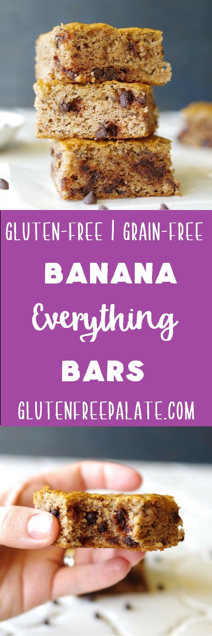 Gluten-Free, Grain-Free Banana Everything Bars are my go-to recipe when I only have one banana left. They are healthy, easy to make, and taste amazing fresh out of the oven. via @gfpalate