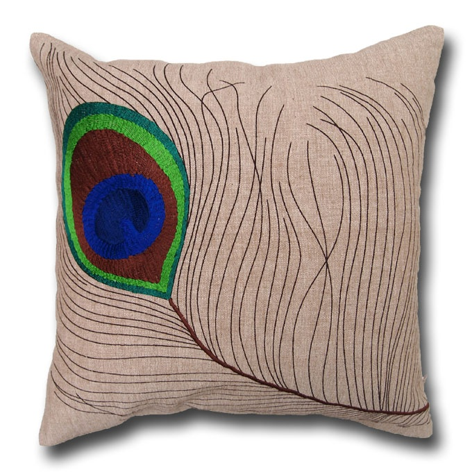 Peacock Feather Embroidered Cushion - www.lotsofcushions.co.uk