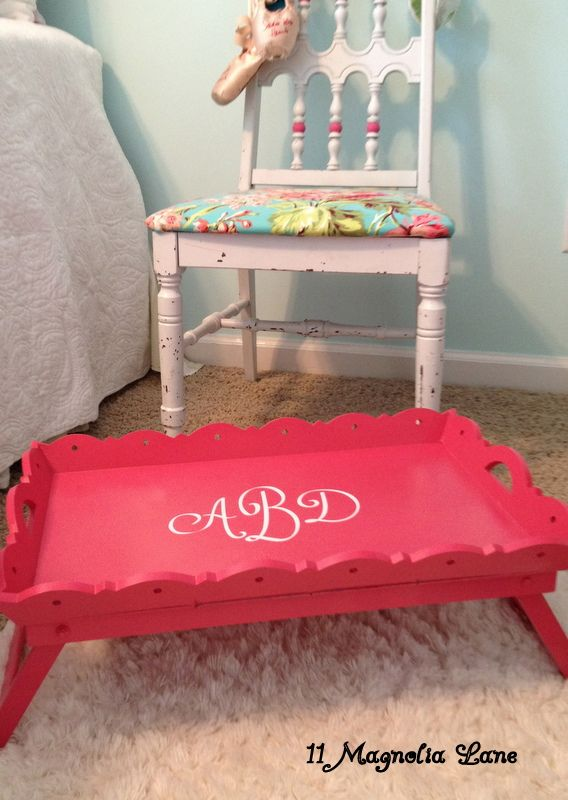 Watermelon pink monogrammed breakfast in bed tray (thrift store up cycle with the help of the Silhouette)