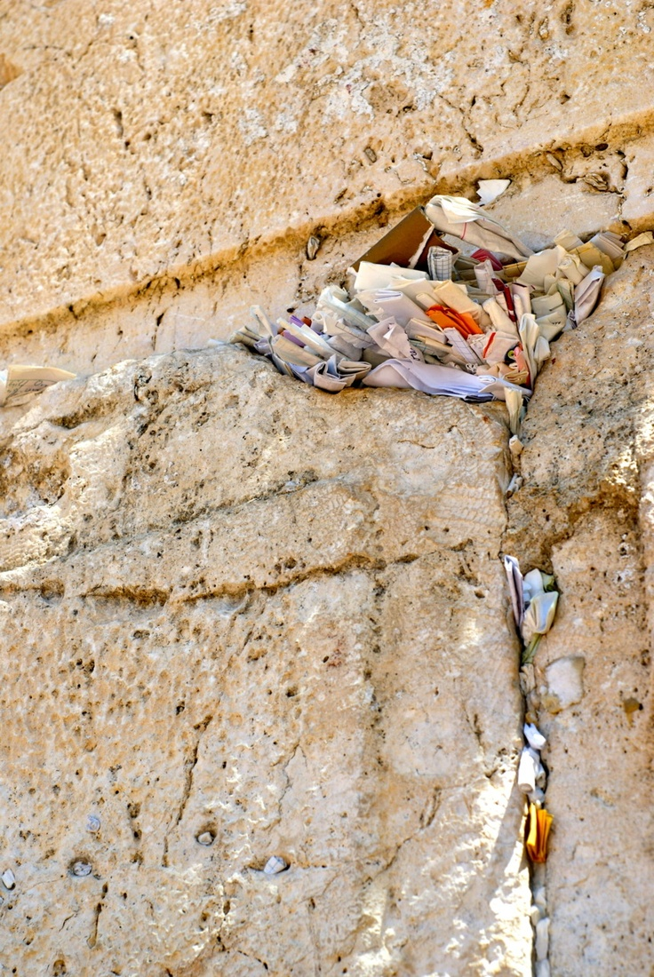 Prayers left in the Western Wall