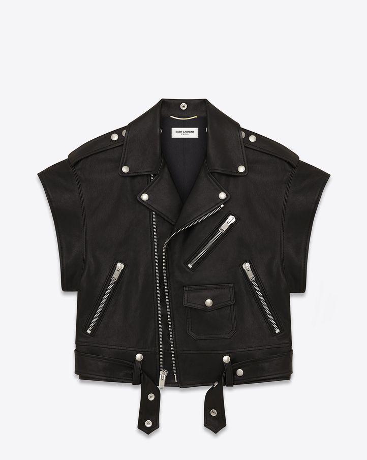 saintlaurent, Short Sleeve Motorcycle Jacket in Black Leather