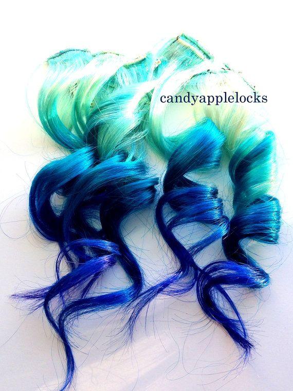 Hair ExtensionsPastel Mermaid Clip in STREAKS by CandyAppleLocks