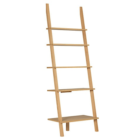 Ladder bookcases - perfect for a kitchen/diner as they take up so little space at head height and keep everything airy.