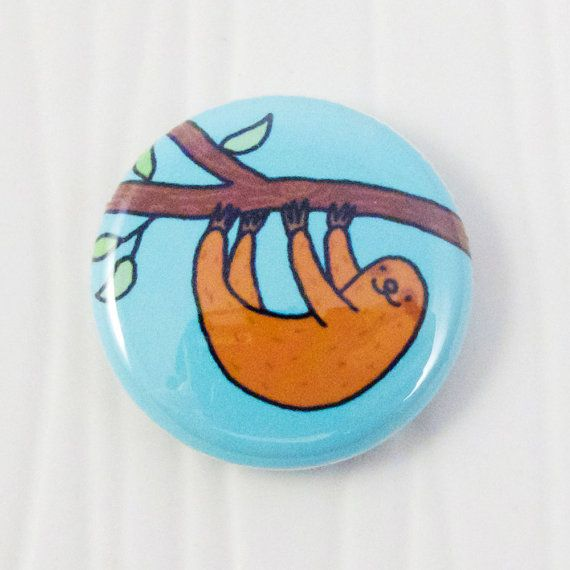 Tree Sloth Button by sugarcookie on Etsy, $2.00