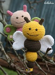 Ravelry: Bug rattles - Sweet butterfly, Friendly bee and Nosy caterpillar pattern by Mari-Liis Lille