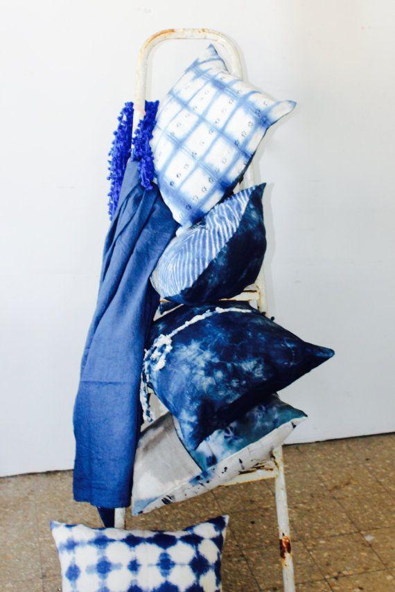 Couple of Indigo Linen Pillows, Hand Dyed Linen Pillows, Linen Pillow Cover…