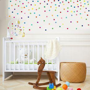 121 Spaß Regenbogen hell Multi-Color-2 Konfetti Kleber Stoff, die abnehmbar und wiederverwendbare Wandsticker Wandtattoo dot. Unsere Wandtattoos Polka Dot hinzufügen einen schönen hellen Regenbogen von Farben mit einem leichten seidigen Glanz auf Ihre Wände! Schälen und Stick, umweltfreundliche Tinten und PVC frei so perfekt für Baby Kinderzimmer, Kinder Zimmer, Spielzimmer oder eine Wohnung, da gibt es keine Beschädigungen der Wände! Abmessungen: Jeder Punkt ist 2 Zoll im Durchmesser. (121…