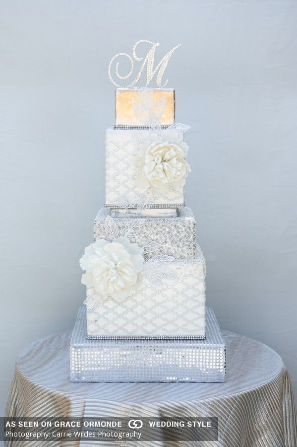 square black and white wedding cakes pictures%0A square wedding cake with quilt design and sugar peonies