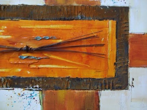 Acrylmalerei und Rost, acrylic painting with rust, Tutorial, Collage - YouTube