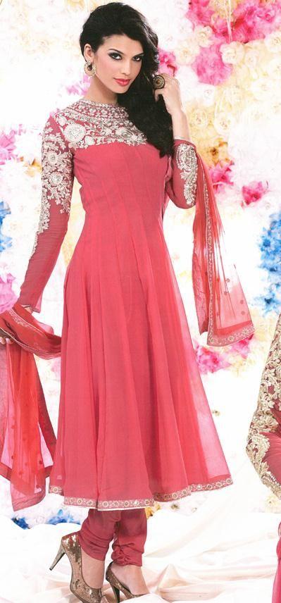 $98.88 Pink Embroidered Faux Georgette Anarkali Salwar Kameez 26008