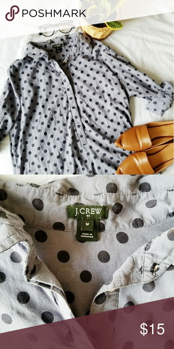 Blue polka dot J. Crew button up blouse Barely worn, light blue button down with dark blue polka dots. So cute for layering under vests or sweaters! J. Crew Tops Button Down Shirts