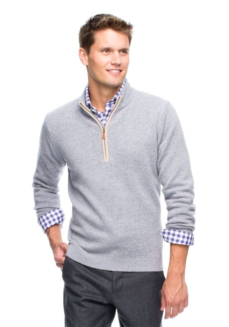 JMcLaughlin.com - Men's Sweaters – Jonah Cashmere Sweater in Heather Grey engagement photo outfit