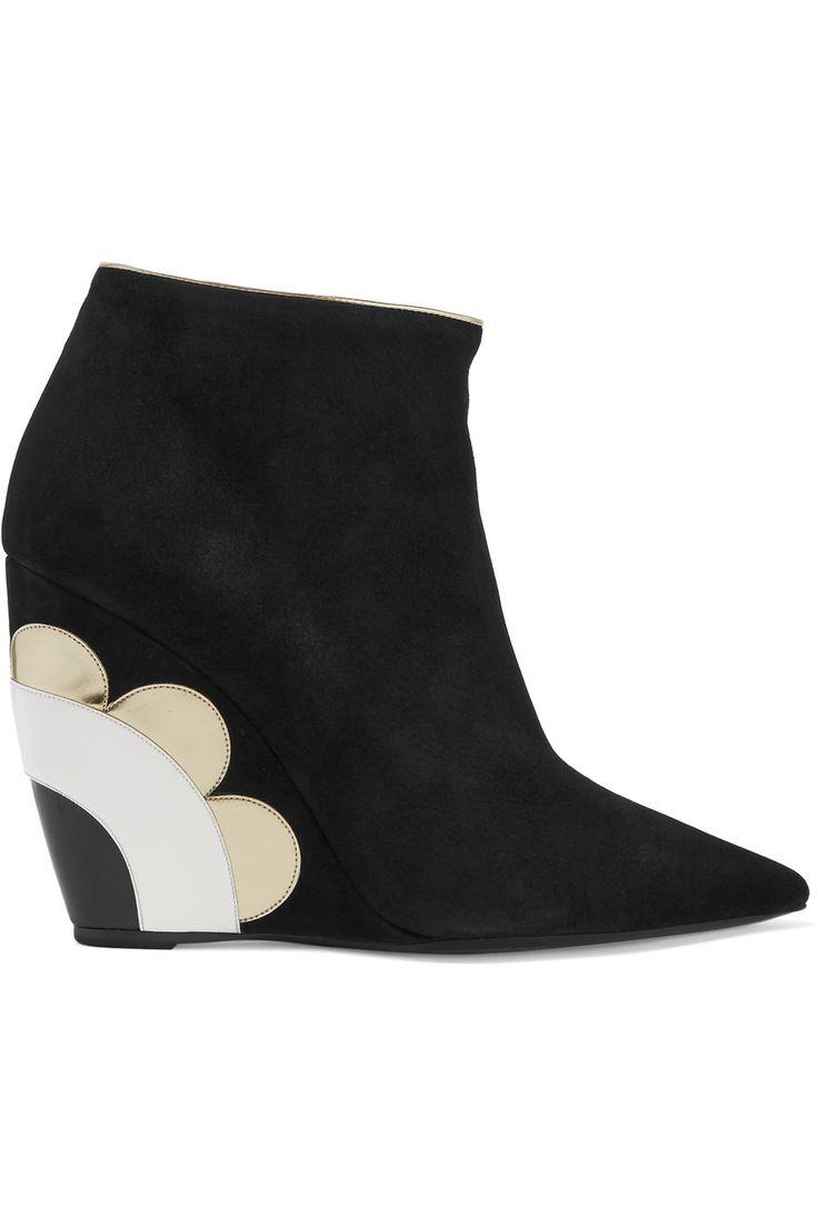Nicholas KirkwoodLizy appliquéd suede wedge ankle boots