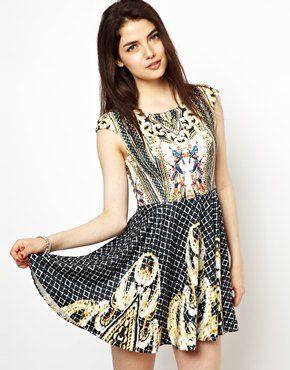Image 1 ofGinger Fizz Skater Dress In Renaissance Print