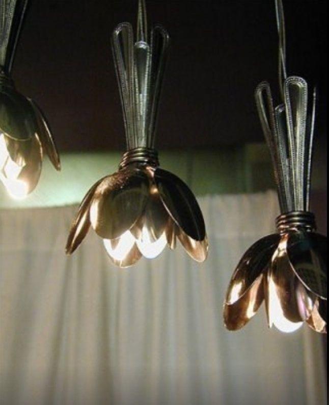 table spoons lamp #lamp #light #lightidea #lampidea #cozylight