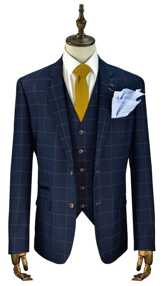 d367bfd6604 Cavani Macy Men's New 3 Piece Suits Check Peaky Blinder Suit Navy sizes 36-50  #Cavani #SingleBreastedSuit
