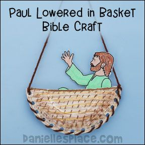 Paul in Basket paper plate bible Craft for Sunday School www.daniellesplace.com