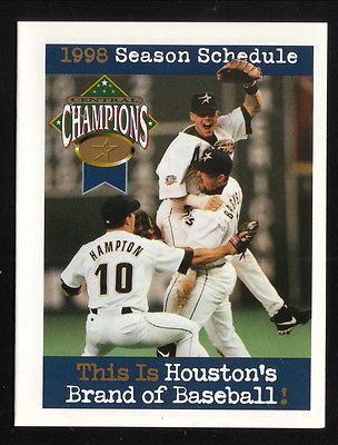 1998 Houston Astros Schedule--Coke--Bagwell/Biggio/Hampton