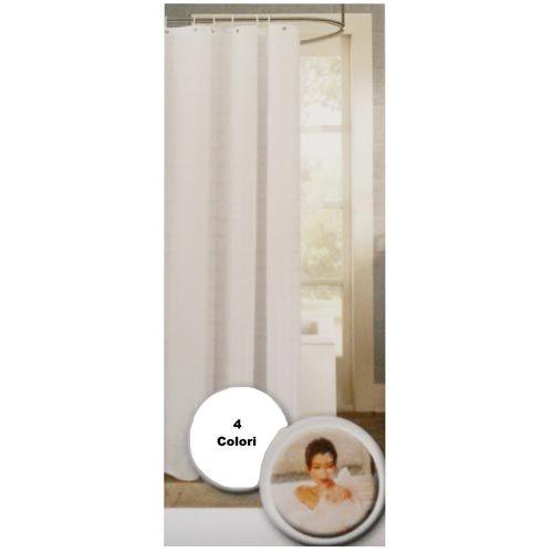 Tende - tappeti : Tenda doccia vasca bagno 180x180 cm ad anelli lavabile no stiro tinta unita
