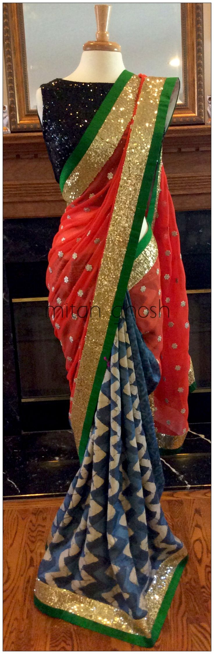 Batik tassar and georgette saree