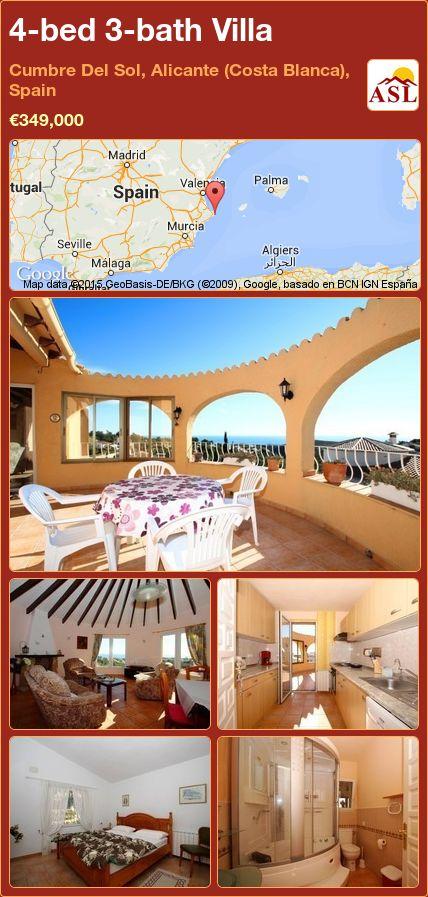 4-bed 3-bath Villa in Cumbre Del Sol, Alicante (Costa Blanca), Spain ►€349,000 #PropertyForSaleInSpain