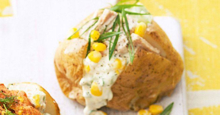 Creamy tuna, corn and celery make a perfect combination for a potato topping.