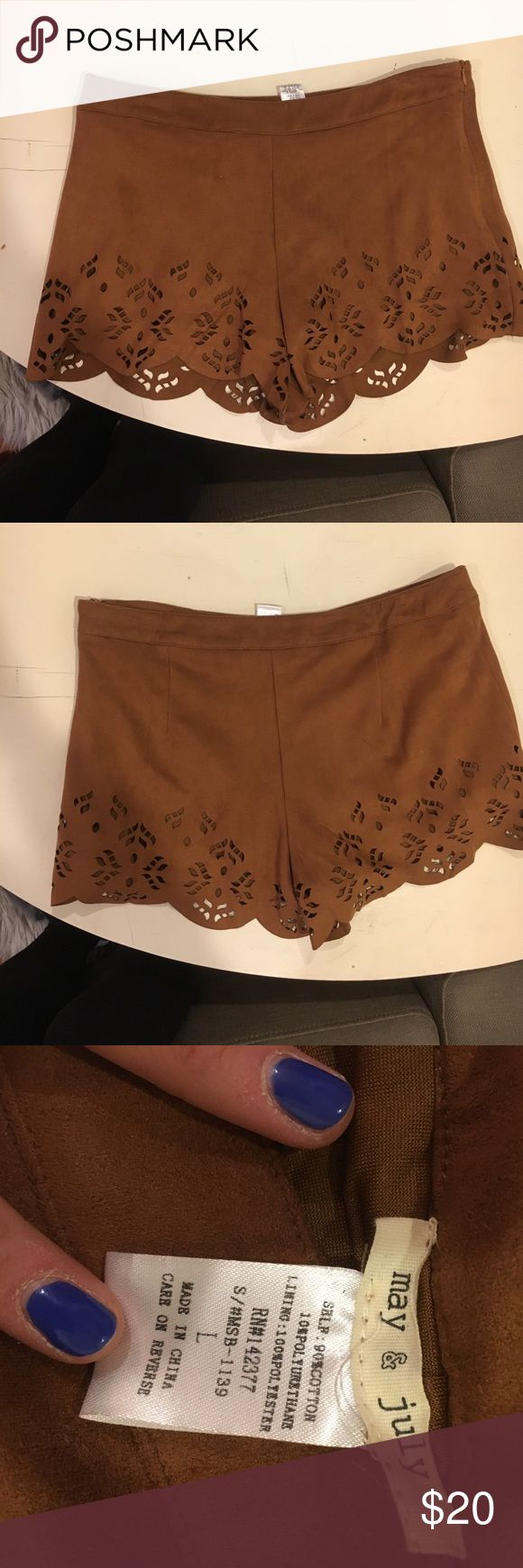 Brown suede cut out shorts size large Brown suede shorts with cut out scalloped hem. Size large Shorts