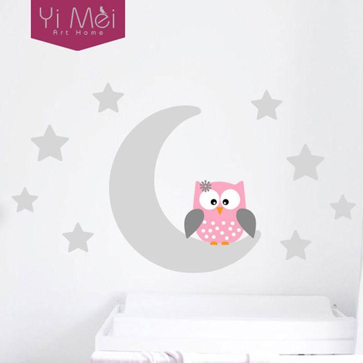 Moon Stars Owl Good Night Nursery Wallpaper Wall Decal Sticker Painted Paper Children Baby Room Nursery Bedroom 60*105CM Home