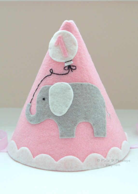 Felt Party Hat with Elephant, First Birthday, Girl, Elephant hat, Smash Cake by pixieandpenelope on Etsy https://www.etsy.com/listing/198228399/felt-party-hat-with-elephant-first