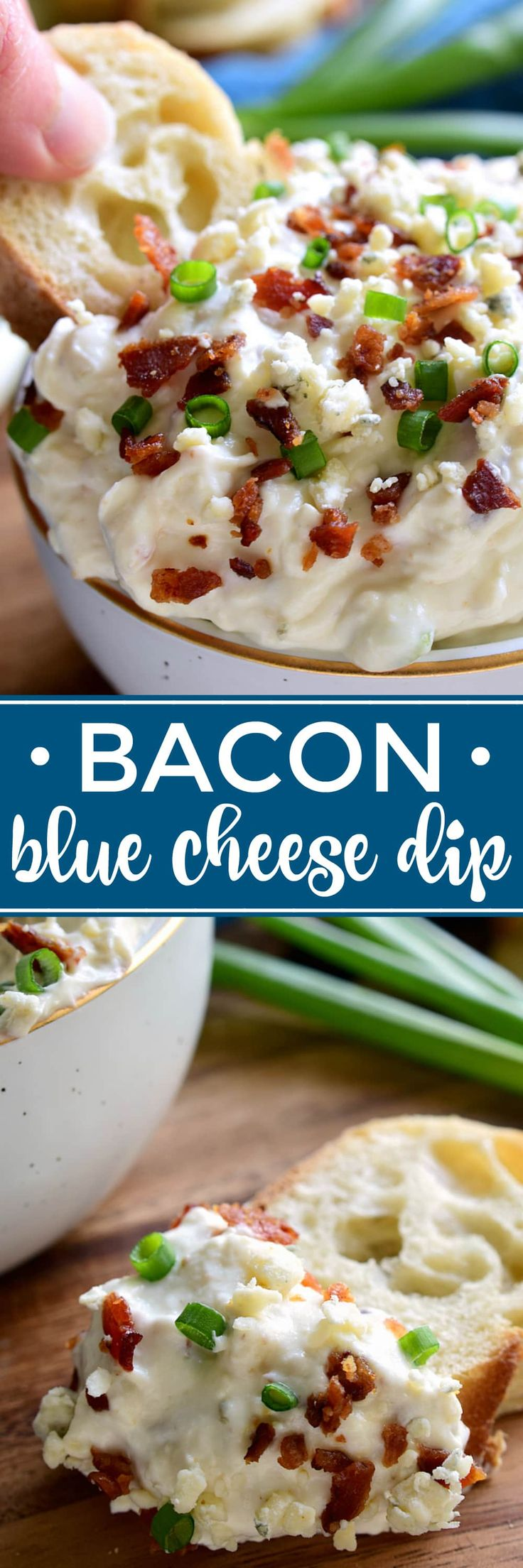 This Bacon Blue Cheese Dip is the ultimate easy party dip! Loaded with the delicious flavors of bacon and blue cheese, this dip is creamy, flavorful, and perfect for easy entertaining! (Cheese Dip Recipes)