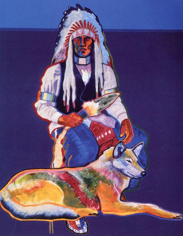 John Nieto (Nations of New Mexico) painting  art  man dog  native