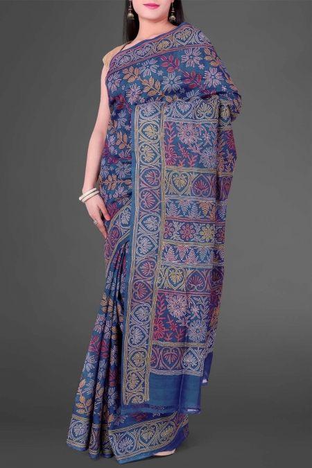 Blue Hand Block Printed Kantha Tussar Silk Saree