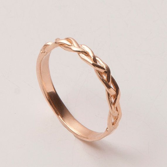 Braided Ring No.4  - 18K Rose Gold Stackable Ring , Wedding Band ; this would be great to wear to work... you know, when i'm actually married