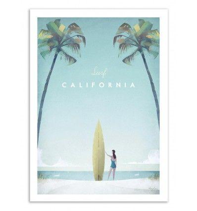 L'illustrateur Henry Rivers réalise une série d'affiches d'art vintage sur le thème du voyage. Visitez plages avec palmiers de Californie en surf