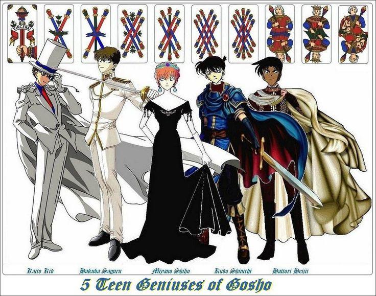 5 Teen Geniuses of Gosho - Kaito KID 1412, Kaito Kuroba, Saguru Hakuba, Shiho Miyano, Shinichi Kudo, Heiji Hattori