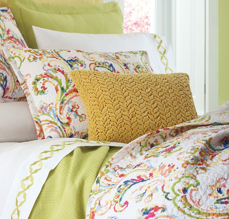 Company C's braided #velvet pillow in Dijon pairs well with our multi-colored Freesia bedding and willow Avery sheets!