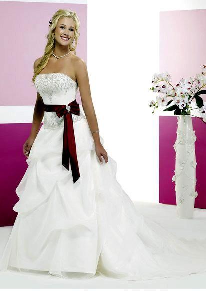 wedding dress with red sash