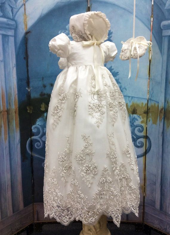Channel//Silk and Lace Christening Gown and by ElenaCollectionUSA