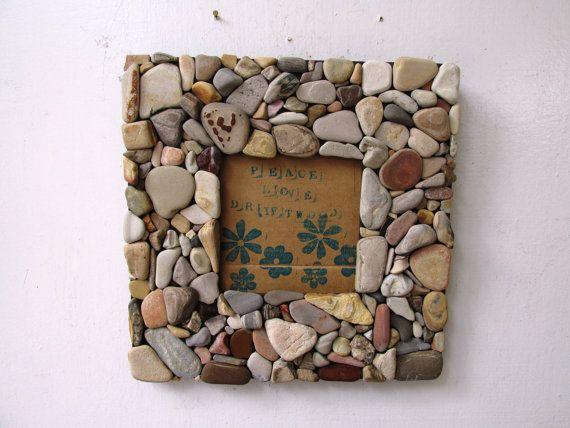 Spiaggia cornice di roccia 35 x 35 rustico di PeaceLoveDriftwood